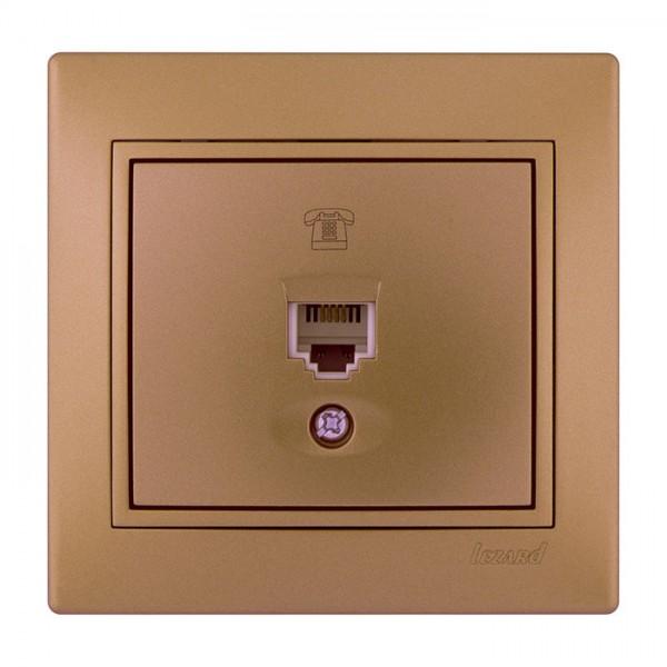 Розетка телефонная евро, матовое золото металлик, Mira фото, цена