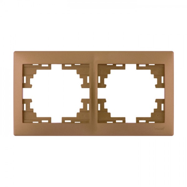Рамка 2-ая горизонтальная б/вст, матовое золото металлик, Mira фото, цена
