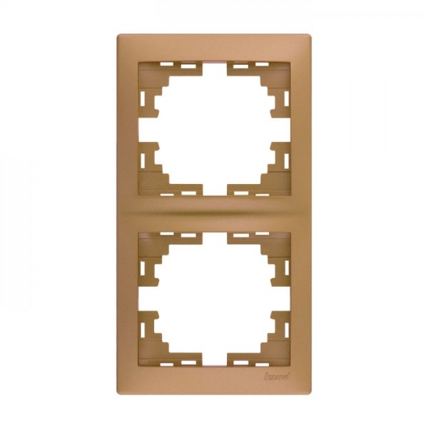 Рамка 2-ая вертикальная б/вст, матовое золото металлик, Mira фото, цена