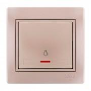 Выключатели Кнопка звонка с подсветкой, жемчужно-белый металлик, Mira фото, цена