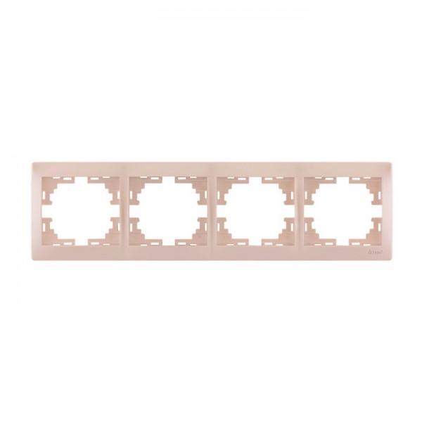 Рамка 4-ая горизонтальная б/вст, жемчужно-белый металлик, Mira фото, цена