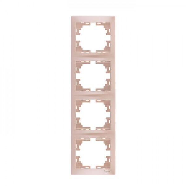 Рамка 4-ая вертикальная б/вст, жемчужно-белый металлик, Mira фото, цена