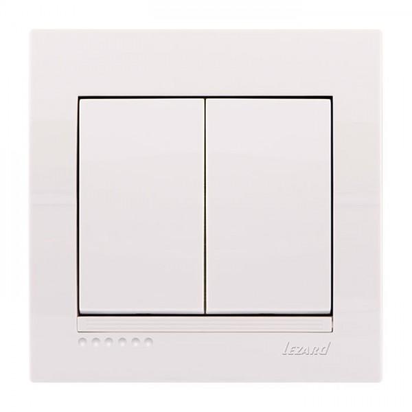 Вимикач подвійний, білий, Deriy фото, цена