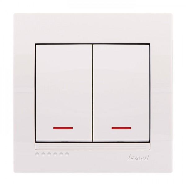 Вимикач подвійний з підсвічуванням, білий, Deriy фото, цена