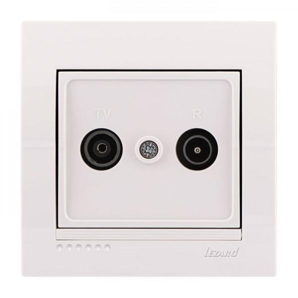 ТВ-радіо розетка прохідна, біла, Deriy фото, цена