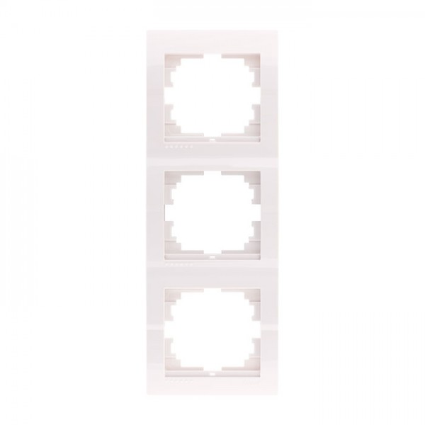 Рамка 3-ая вертикальная б/вст, белый, Deriy фото, цена