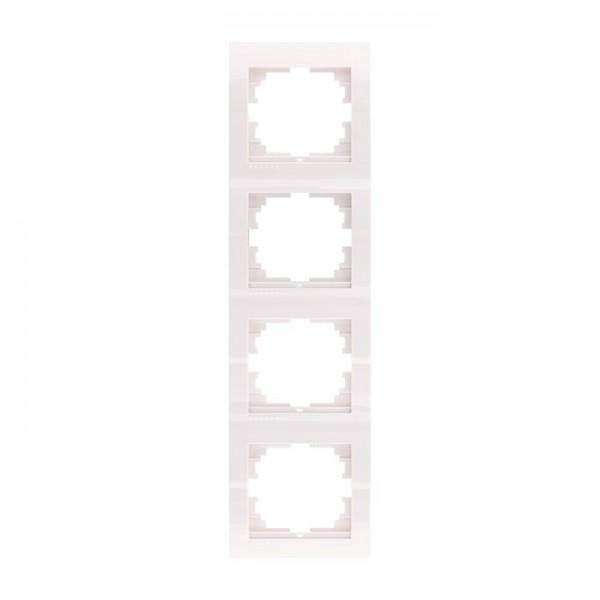 Рамка 4-ая вертикальная б/вст, белый, Deriy фото, цена
