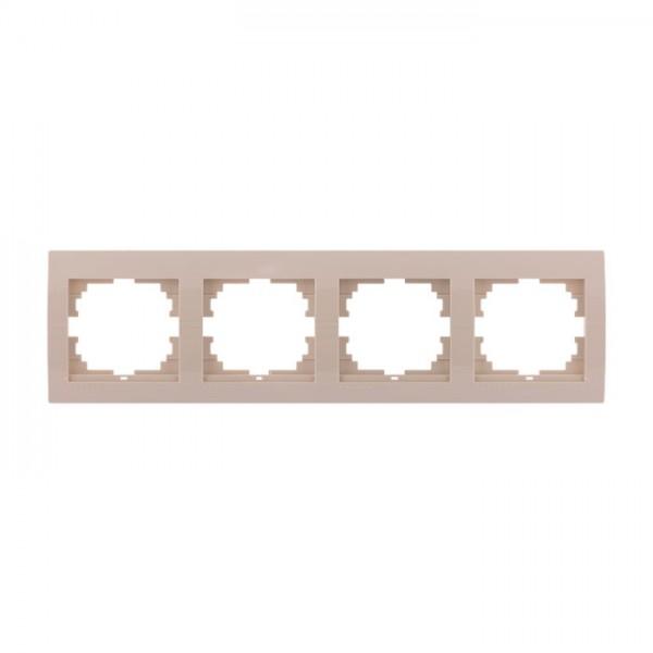Рамка 4-ая горизонтальная б/вст, крем, Deriy фото, цена