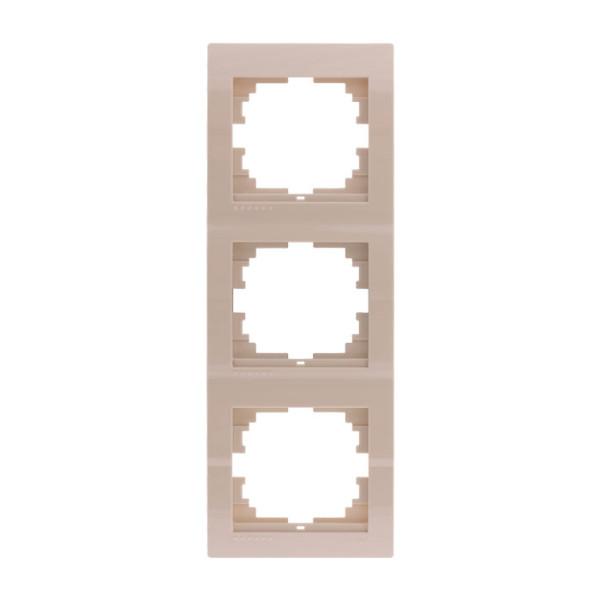 Рамка 3-ая вертикальная б/вст, крем, Deriy фото, цена