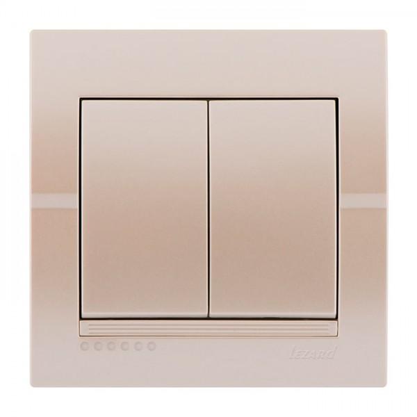 Выключатель двойной, жемчужно-белый металлик, Deriy фото, цена