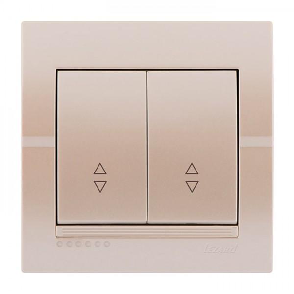 Вимикач прохідний подвійний, перлинно-білий металік, Deriy фото, цена