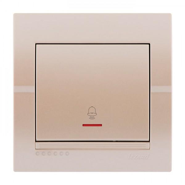 Кнопка звонка с подсветкой, жемчужно-белый металлик, Deriy фото, цена