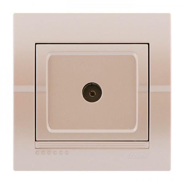 Розетка ТВ прохідна, перлинно-білий металік, Deriy фото, цена
