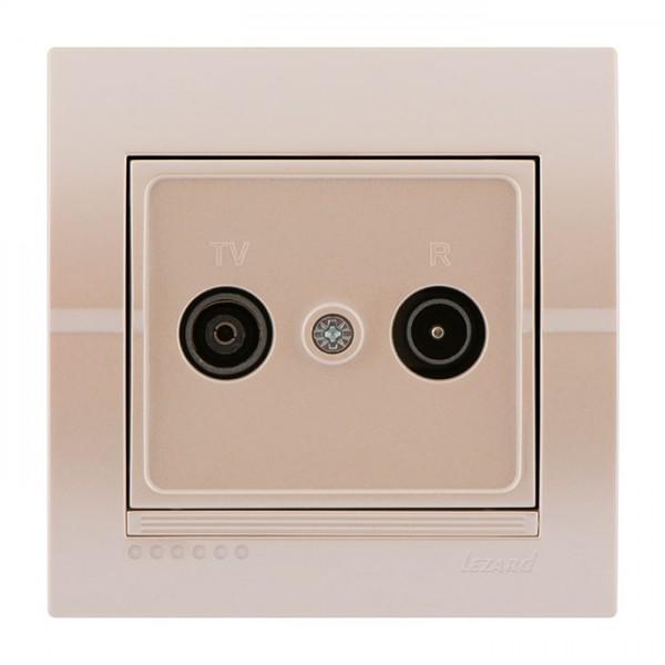 ТВ-радіо розетка прохідна, перлинно-білий металік, Deriy фото, цена