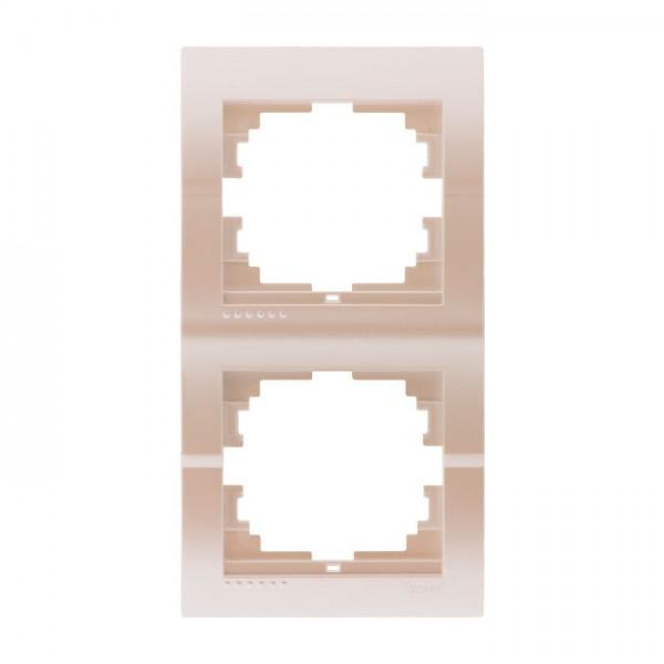 Рамка 2-ая вертикальная б/вст, жемчужно-белый металлик, Deriy фото, цена