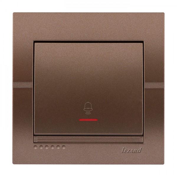 Кнопка звонка с подсветкой, светло-коричневый металлик, Deriy фото, цена