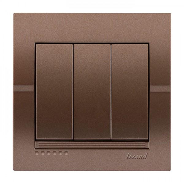 Выключатель тройной, светло-коричневый металлик, Deriy фото, цена