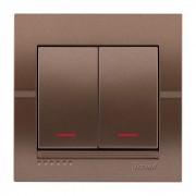 Выключатели Выключатель двойной с подсветкой, светло-коричневый металлик, Deriy фото, цена