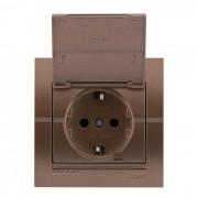 Розетки Розетка с/з с крышкой, светло-коричневый металлик, Deriy фото, цена