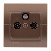 Розетки ТВ-Радио спутниковая розетка оконечная, светло-коричневый металлик, Deriy фото, цена