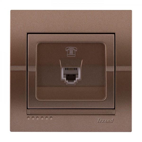 Розетка телефонна євро, світло-коричневий металік, Deriy фото, цена