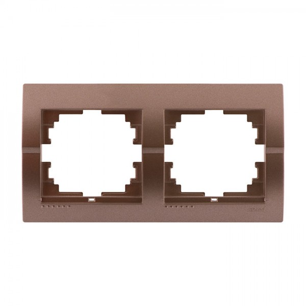 Рамка 2-а горизонтальна б/вст, світло-коричневий металік, Deriy фото, цена