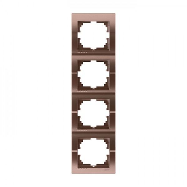Рамка 4-ая вертикальная б/вст, светло-коричневый металлик, Deriy фото, цена