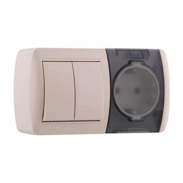 Выключатель 2-х клавишный и розетка с заземлением, крем, Demet фото, цена