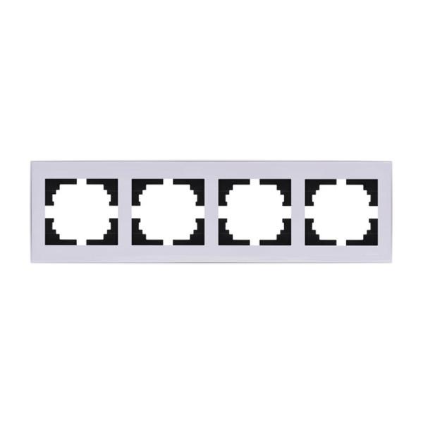 Рамка 4-ая горизонтальная б/вст белый Rain фото, цена