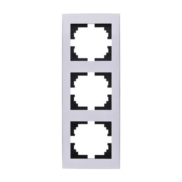 Рамка 3-ая вертикальная б/вст белый Rain фото, цена