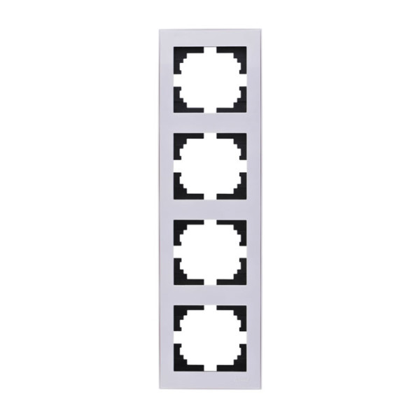 Рамка 4-ая вертикальная б/вст белый Rain фото, цена