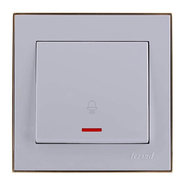 Кнопка звонка с подсветкой белый/золото Rain фото, цена