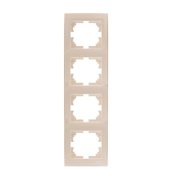 Рамка 4-ая вертикальная б/вст жемчужно-белый Rain фото, цена