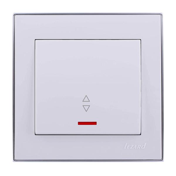 Выключатель проходной с подсветкой белый/хром Rain фото, цена