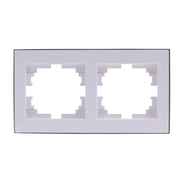Рамка 2-ая горизонтальная б/вст белый/хром Rain фото, цена