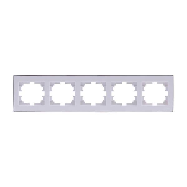 Рамка 5-ая горизонтальная б/вст белый/хром Rain фото, цена