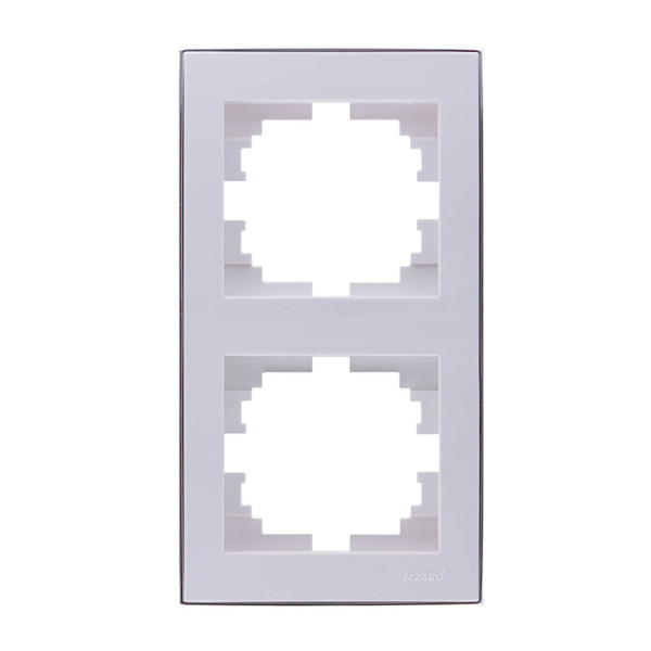 Рамка 2-а вертикальна б/вст білий/хром Rain фото, цена