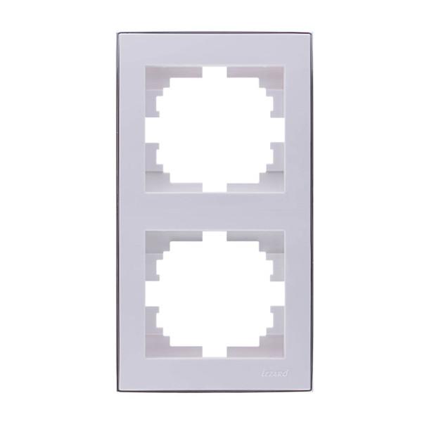 Рамка 2-ая вертикальная б/вст белый/хром Rain фото, цена