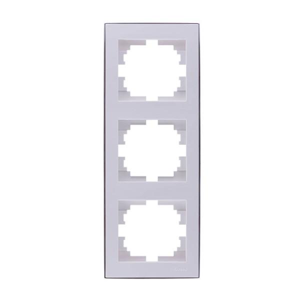 Рамка 3-а вертикальна б/вст білий/хром Rain фото, цена